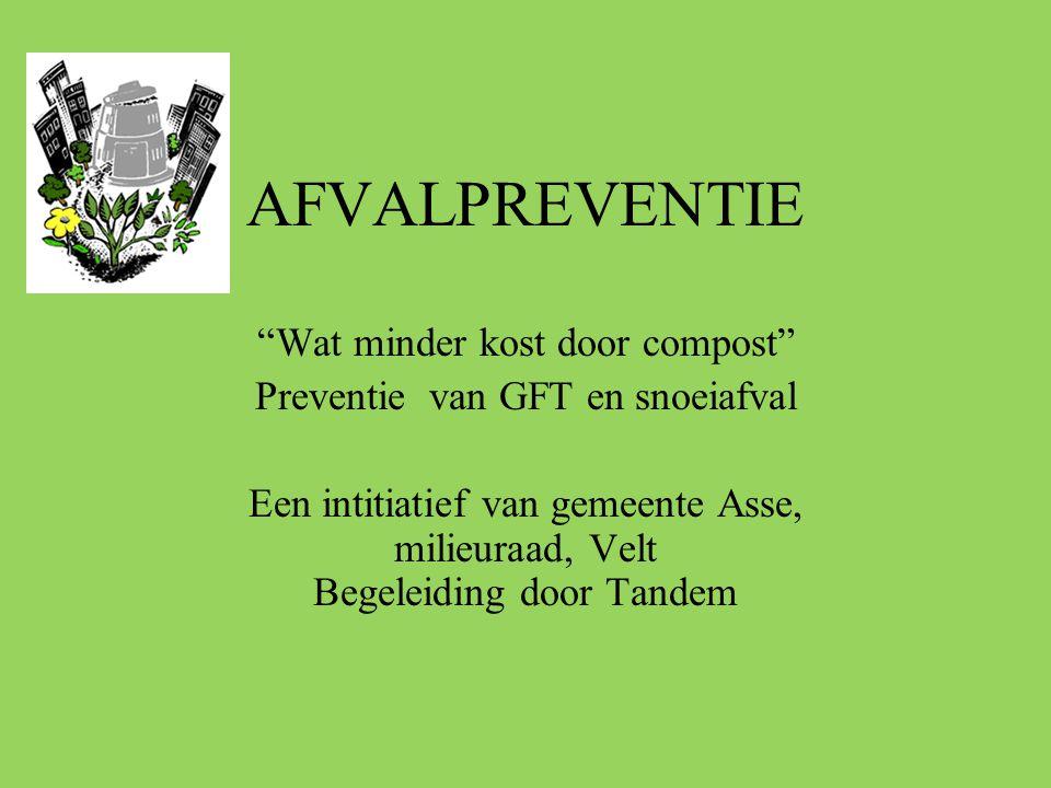 """AFVALPREVENTIE """"Wat minder kost door compost"""" Preventie van GFT en snoeiafval Een intitiatief van gemeente Asse, milieuraad, Velt Begeleiding door Tan"""