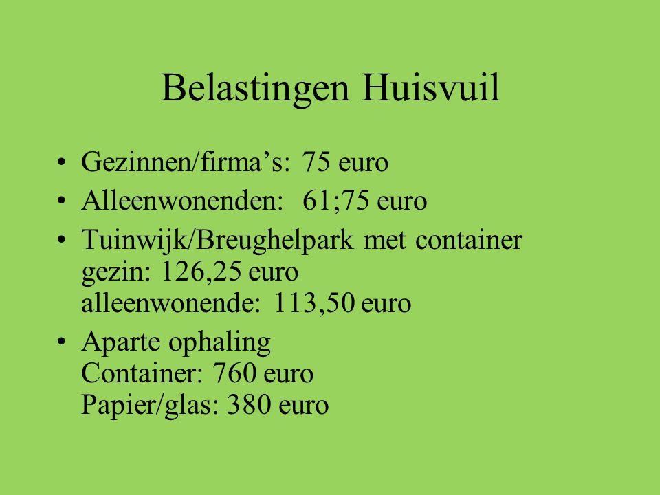 Belastingen Huisvuil •Gezinnen/firma's: 75 euro •Alleenwonenden: 61;75 euro •Tuinwijk/Breughelpark met container gezin: 126,25 euro alleenwonende: 113