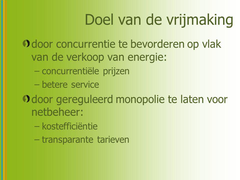 Doel van de vrijmaking door concurrentie te bevorderen op vlak van de verkoop van energie: –concurrentiële prijzen –betere service door gereguleerd mo