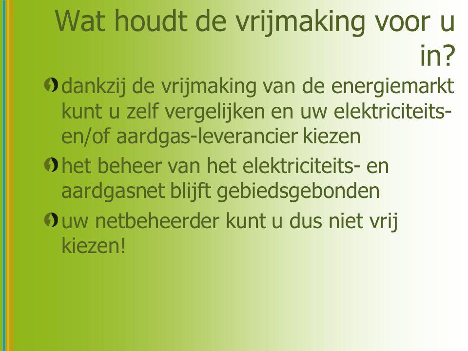 Wat houdt de vrijmaking voor u in? dankzij de vrijmaking van de energiemarkt kunt u zelf vergelijken en uw elektriciteits- en/of aardgas-leverancier k