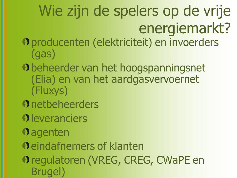 Wie zijn de spelers op de vrije energiemarkt? producenten (elektriciteit) en invoerders (gas) beheerder van het hoogspanningsnet (Elia) en van het aar