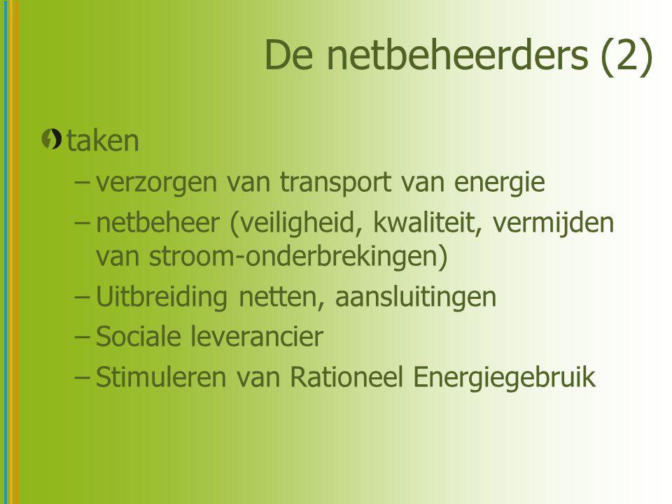 De netbeheerders (2) taken –verzorgen van transport van energie –netbeheer (veiligheid, kwaliteit, vermijden van stroom-onderbrekingen) –Uitbreiding n