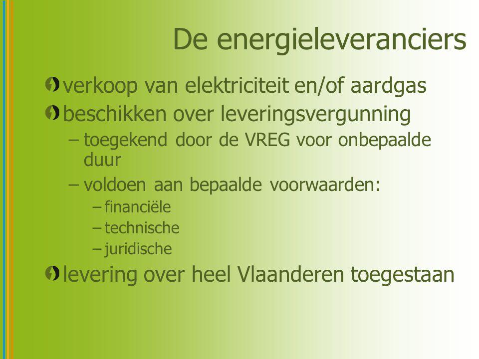 De energieleveranciers verkoop van elektriciteit en/of aardgas beschikken over leveringsvergunning –toegekend door de VREG voor onbepaalde duur –voldo