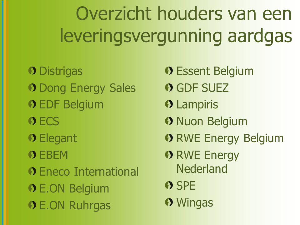 Overzicht houders van een leveringsvergunning aardgas Distrigas Dong Energy Sales EDF Belgium ECS Elegant EBEM Eneco International E.ON Belgium E.ON R
