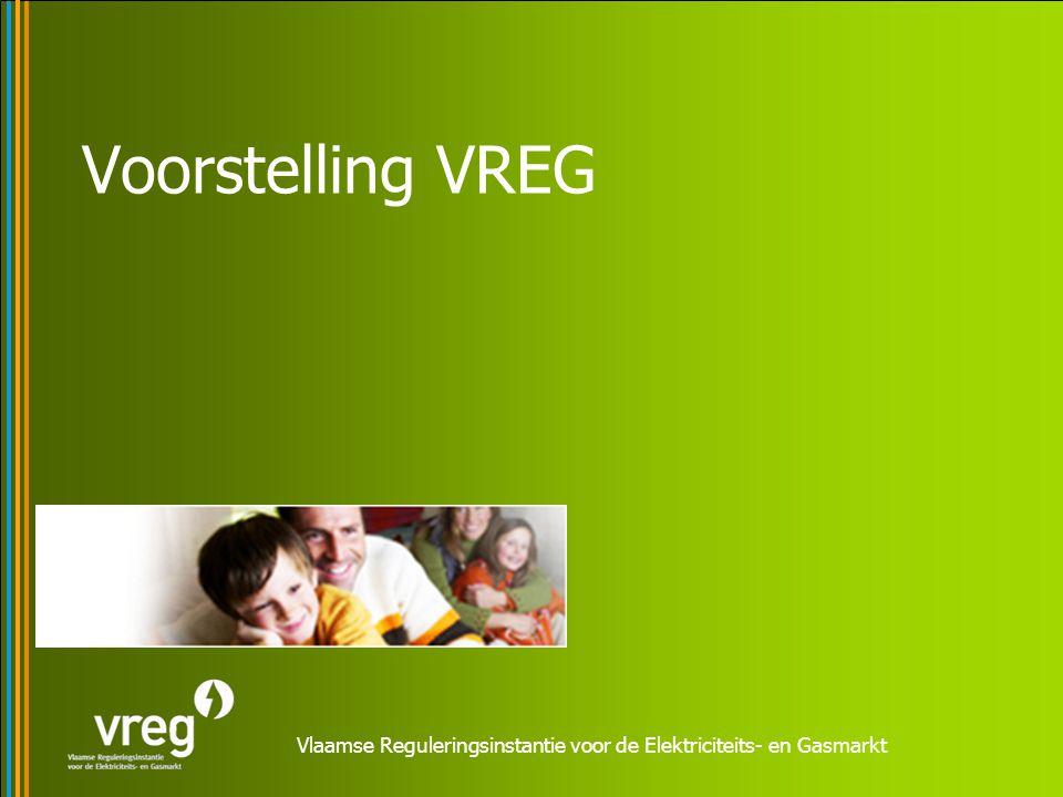 Vlaamse Reguleringsinstantie voor de Elektriciteits- en Gasmarkt Vlaamse overheidsinstelling (Extern verzelfstandigd agentschap EVA) operationeel sinds 1 december 2001 zorgt ervoor dat de Vlaamse elektriciteits- en aardgasmarkt efficiënt georganiseerd wordt en werkt.