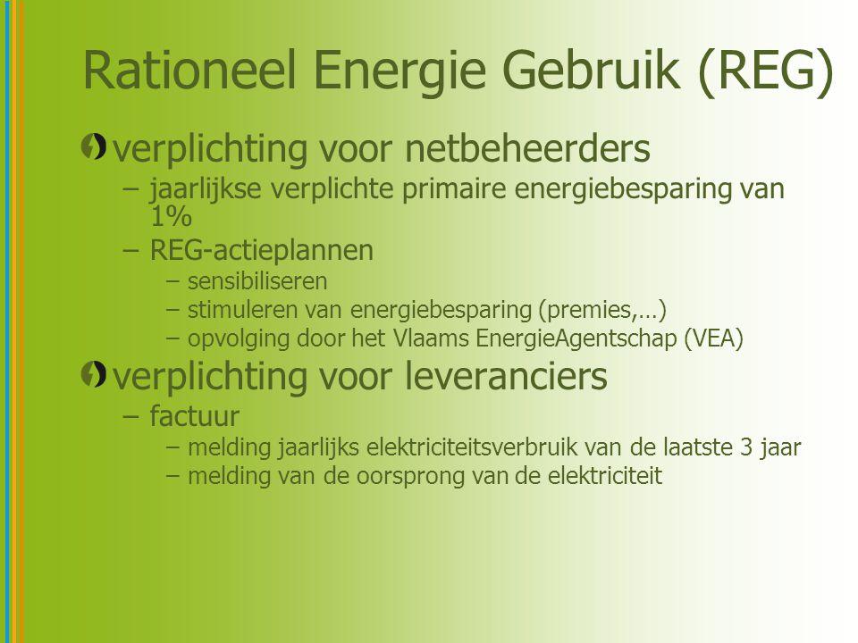 Rationeel Energie Gebruik (REG) verplichting voor netbeheerders –jaarlijkse verplichte primaire energiebesparing van 1% –REG-actieplannen –sensibilise