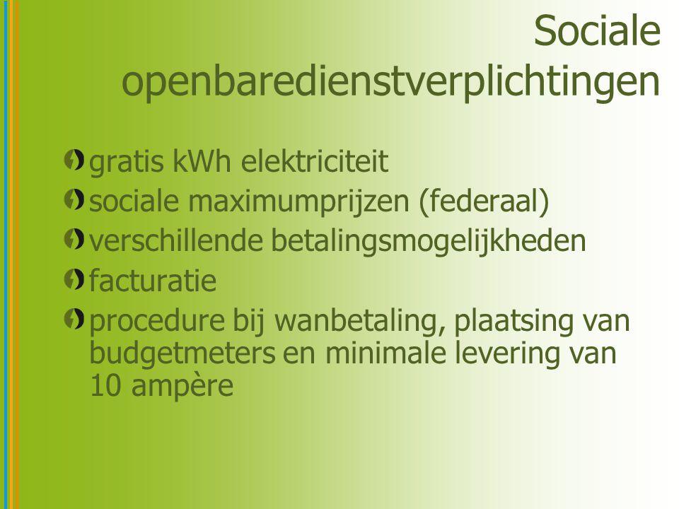 Sociale openbaredienstverplichtingen gratis kWh elektriciteit sociale maximumprijzen (federaal) verschillende betalingsmogelijkheden facturatie proced