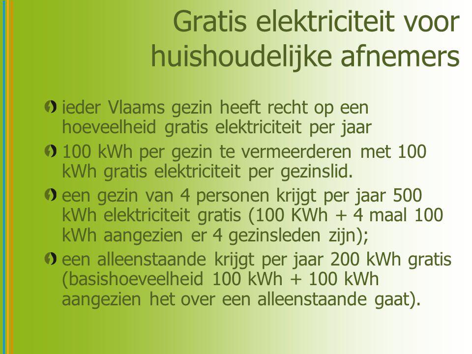 Gratis elektriciteit voor huishoudelijke afnemers iedereen heeft recht op de gratis elektriciteit, ongeacht de leverancier iedere leverancier moet de gratis elektriciteit in rekening brengen op zijn elektriciteitsfactuur.