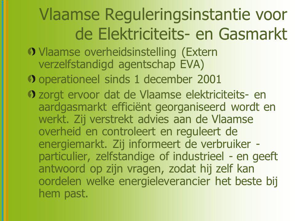 Vlaamse Reguleringsinstantie voor de Elektriciteits- en Gasmarkt Vlaamse overheidsinstelling (Extern verzelfstandigd agentschap EVA) operationeel sind