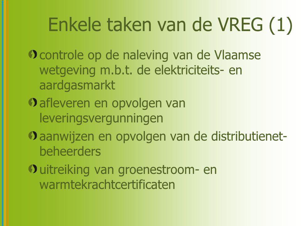 Enkele taken van de VREG (2) uitbouwen van en toezicht houden op de markt voor groenestroom- en warmtekrachtcertificaten controle op de naleving van de openbaredienstverplichtingen door leveranciers en netbeheerders geschillen beslechten en bemiddelen m.b.t.