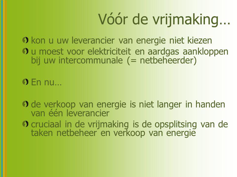 Vóór de vrijmaking… kon u uw leverancier van energie niet kiezen u moest voor elektriciteit en aardgas aankloppen bij uw intercommunale (= netbeheerde