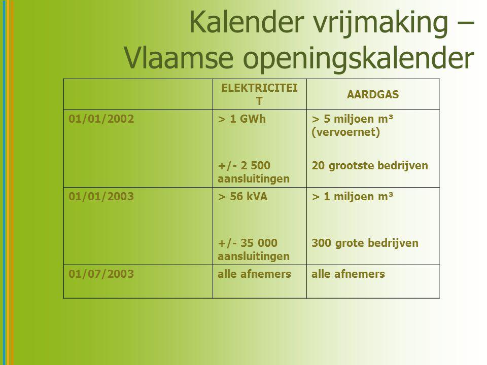 Kalender vrijmaking – Vlaamse openingskalender ELEKTRICITEI T AARDGAS 01/01/2002> 1 GWh +/- 2 500 aansluitingen > 5 miljoen m³ (vervoernet) 20 grootst