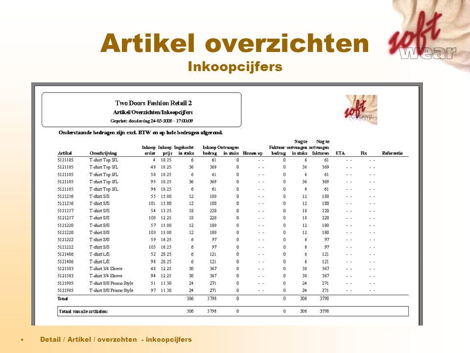 Artikel overzichten Inkoopcijfers •Detail / Artikel / overzchten - inkoopcijfers