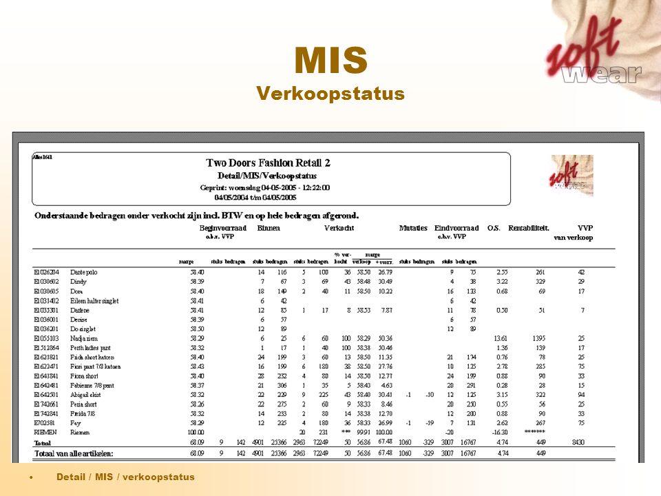 MIS Verkoopstatus •Detail / MIS / verkoopstatus