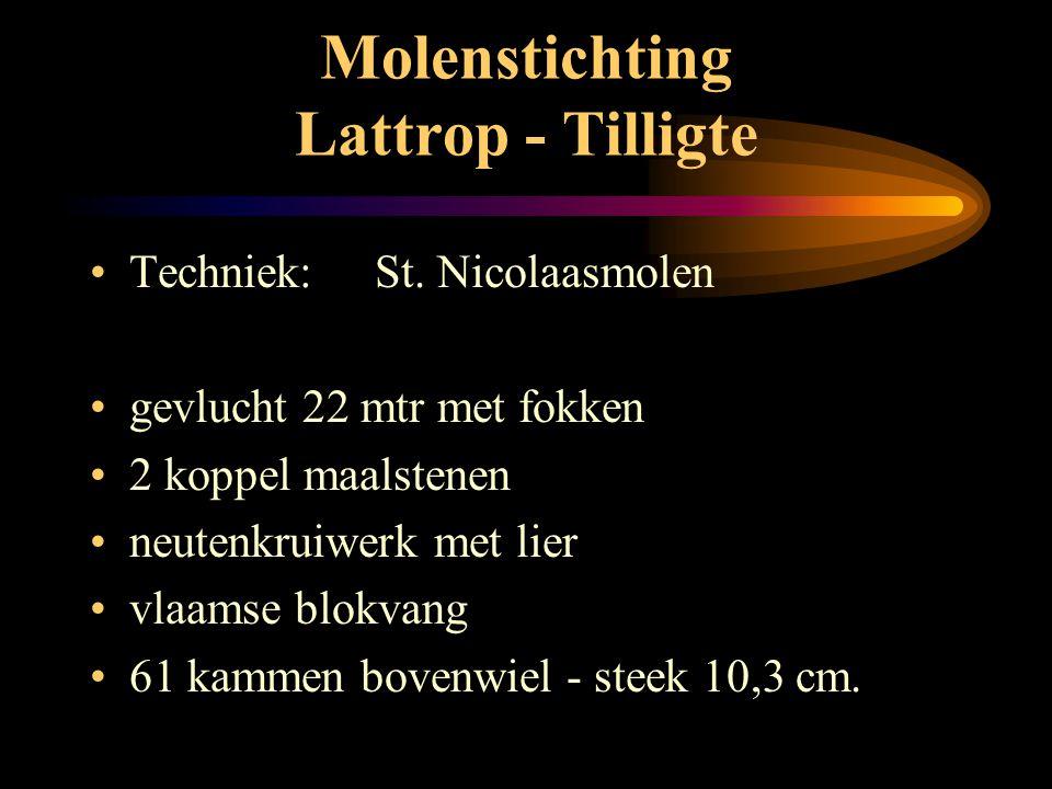 Molenstichting Lattrop - Tilligte • St. Nicolaasmolen: • 8 - kant met schaliën • grondzeiler • buitenkruier Foto J. Vendrig