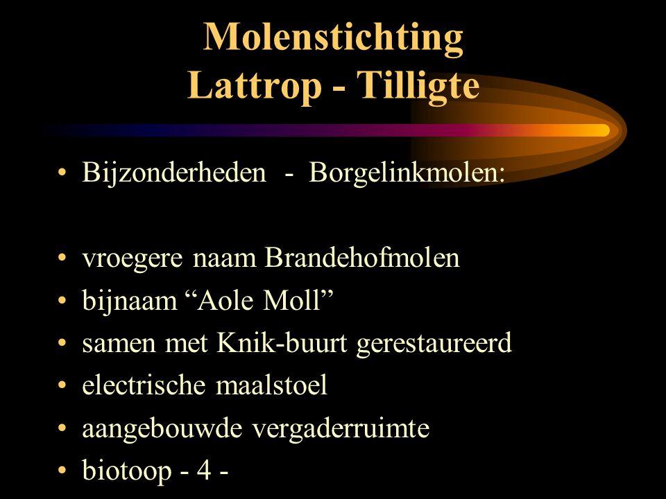 Molenstichting Lattrop - Tilligte •Techniek: Borgelinkmolen •gevlucht 23 mtr met fokken •2 koppel maalstenen •engels kruiwerk met kruiwiel •vlaamse bl