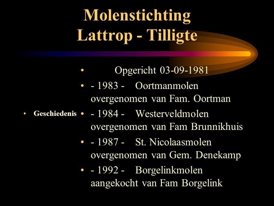 Molenstichting Lattrop - Tilligte •G•Geschiedenis • de molens • bezoek • verkoop • onderhoud • financiën