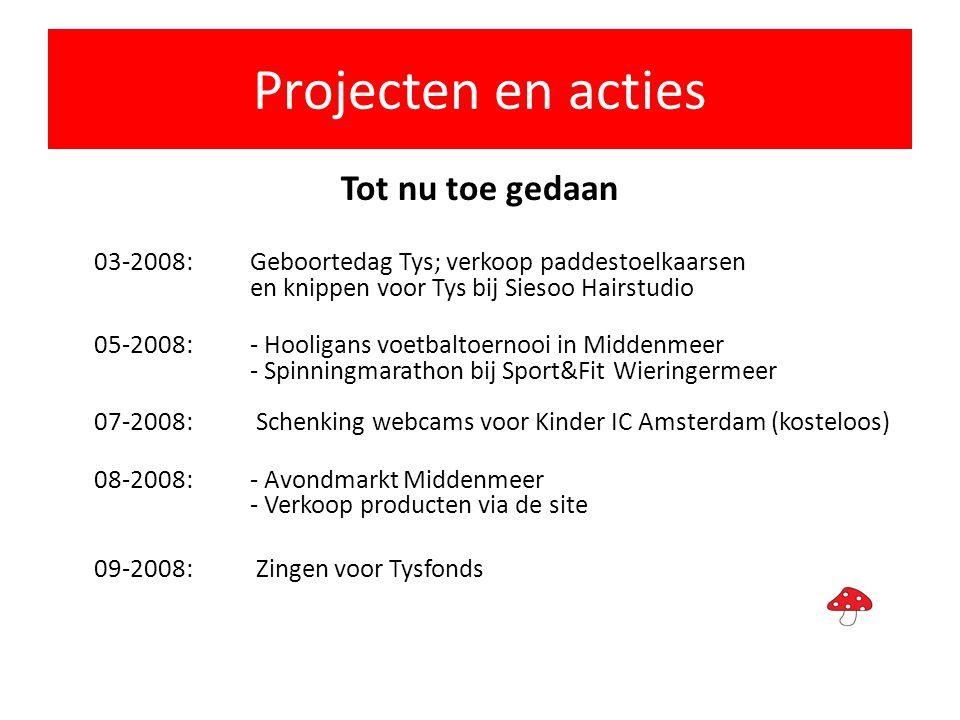 Projecten en acties Tot nu toe gedaan 03-2008: Geboortedag Tys; verkoop paddestoelkaarsen en knippen voor Tys bij Siesoo Hairstudio 05-2008: - Hooliga