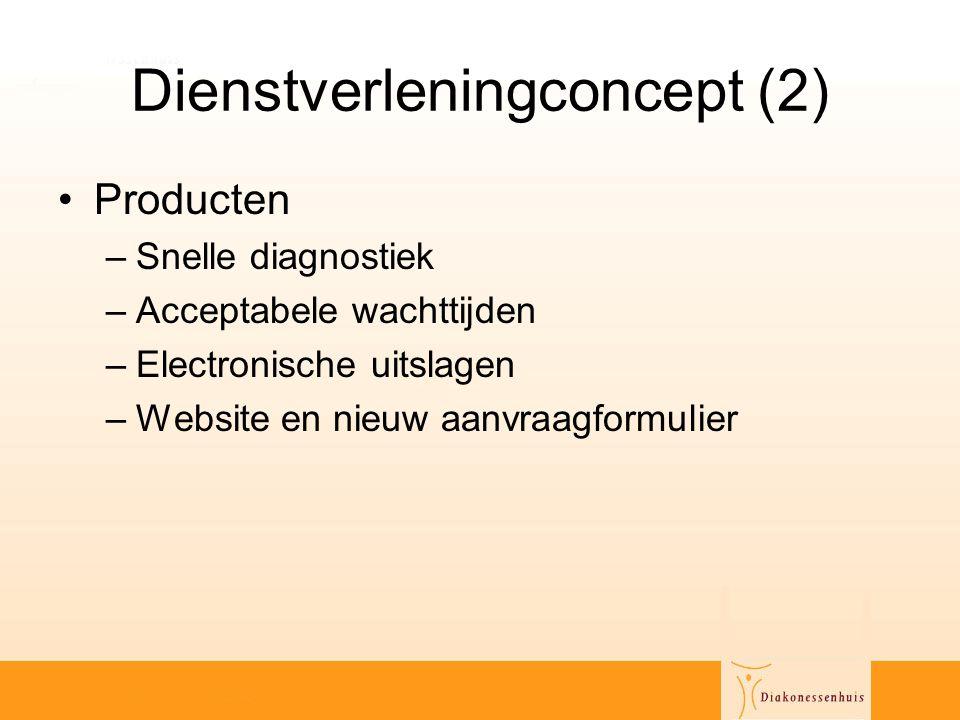 Dienstverleningconcept (2) •Producten –Snelle diagnostiek –Acceptabele wachttijden –Electronische uitslagen –Website en nieuw aanvraagformulier