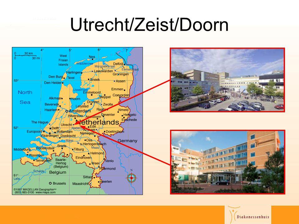 Diakonessenhuis Feiten en cijfers •3 locaties: Utrecht, Zeist, Doorn •adherentie250.000 •aantal bedden (operationeel)627 •medewerkers2.600 •specialisten150 •polibezoeken360.000 •opnames23.000 •dagopnames23.000 •omzet € 140 miljoen
