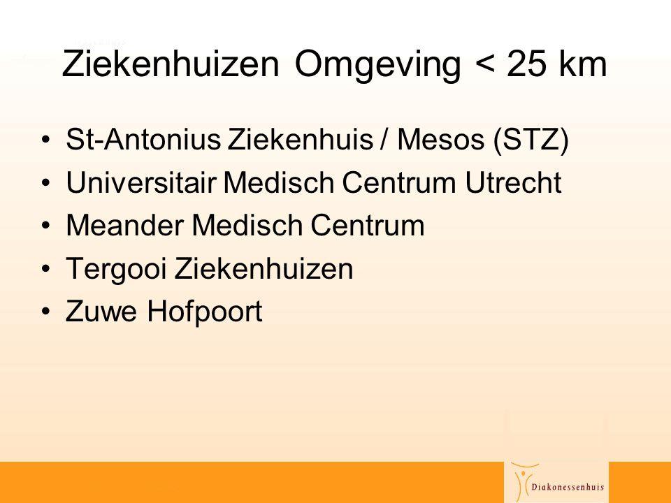 Ziekenhuizen Omgeving < 25 km •St-Antonius Ziekenhuis / Mesos (STZ) •Universitair Medisch Centrum Utrecht •Meander Medisch Centrum •Tergooi Ziekenhuiz