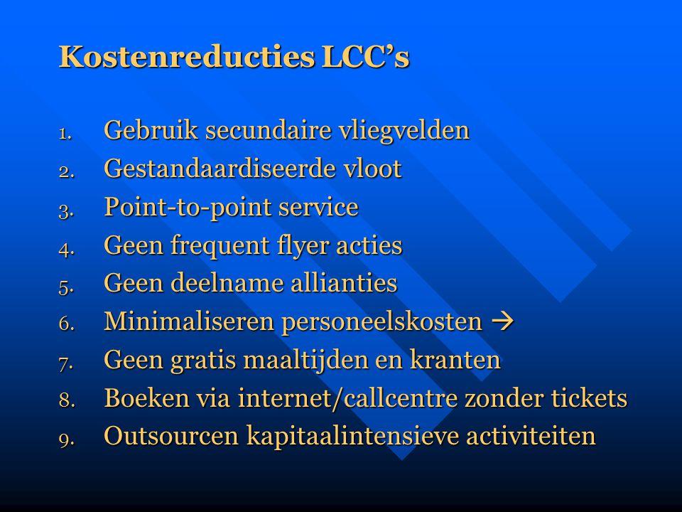 Kostenreducties LCC's 1. Gebruik secundaire vliegvelden 2. Gestandaardiseerde vloot 3. Point-to-point service 4. Geen frequent flyer acties 5. Geen de