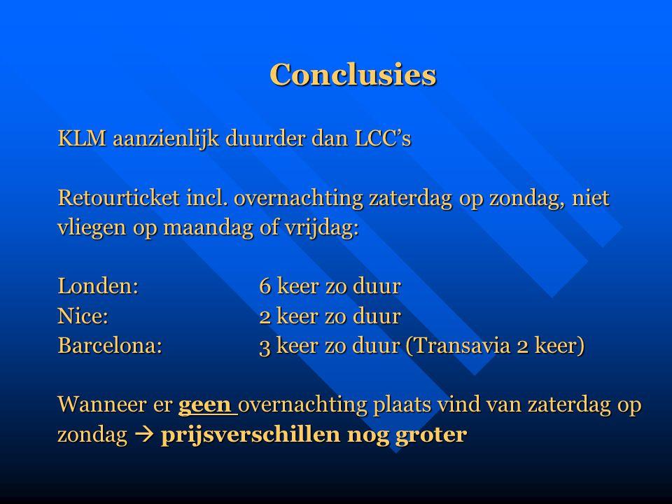 Conclusies KLM aanzienlijk duurder dan LCC's Retourticket incl. overnachting zaterdag op zondag, niet vliegen op maandag of vrijdag: Londen:6 keer zo