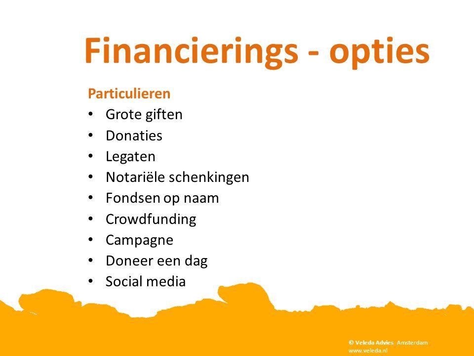 Copyright Veleda Advies, Amsterdam. www.veleda.nl Financierings - opties © Veleda Advies Amsterdam www.veleda.nl Particulieren • Grote giften • Donati
