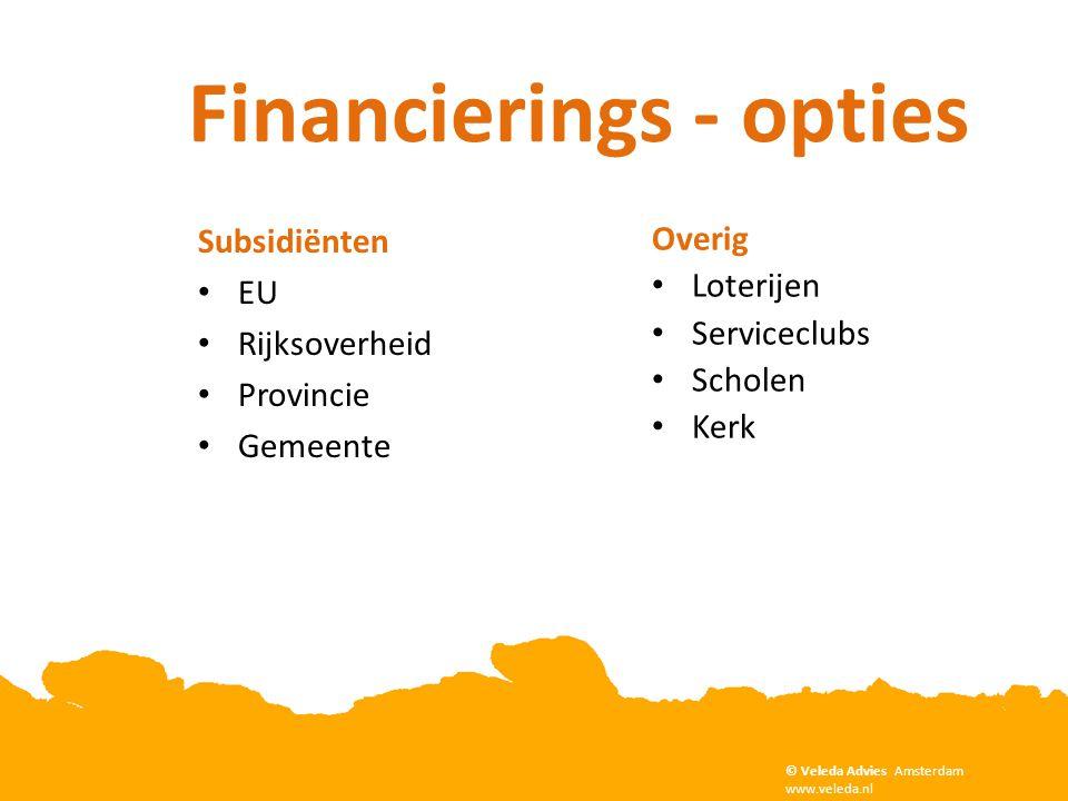 Subsidiënten • EU • Rijksoverheid • Provincie • Gemeente Overig • Loterijen • Serviceclubs • Scholen • Kerk Financierings - opties © Veleda Advies Ams