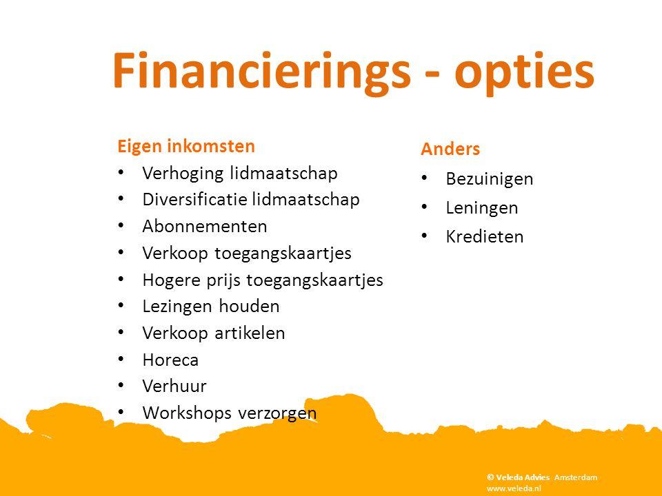 Financierings - opties Anders • Bezuinigen • Leningen • Kredieten Copyright Veleda Advies, Amsterdam. www.veleda.nl © Veleda Advies Amsterdam www.vele