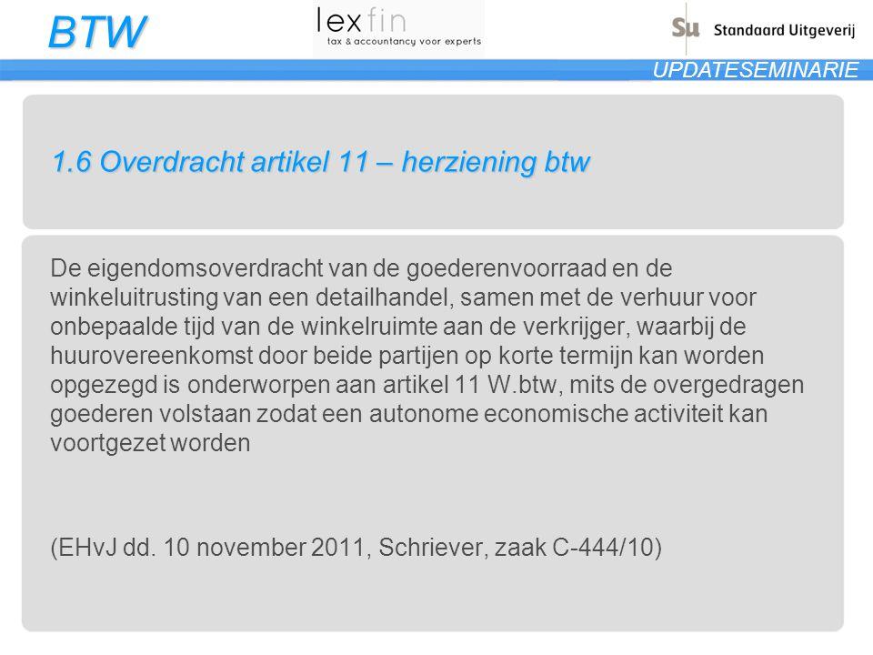 BTW UPDATESEMINARIE 1.7Datum van levering van goederen ontbreekt De datum van de levering van de goederen op de factuur is noodzakelijk om de inning van BTW en de controle daarop door de btw-administratie mogelijk te maken (is de bevestiging van eerdere uitspraken Hof van Cassatie) Gezien gebrek aan bewijs van kwade trouw wordt de boete herleid tot 10 % (Brussel, 15 september 2011, rolnr.