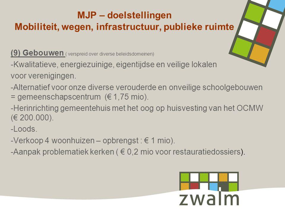 MJP – doelstellingen Mobiliteit, wegen, infrastructuur, publieke ruimte (9) Gebouwen ( verspreid over diverse beleidsdomeinen) -Kwalitatieve, energiez