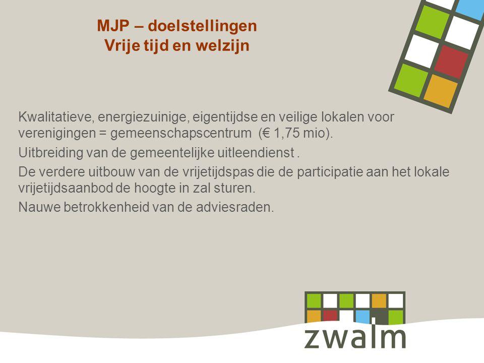 MJP – doelstellingen Vrije tijd en welzijn Kwalitatieve, energiezuinige, eigentijdse en veilige lokalen voor verenigingen = gemeenschapscentrum (€ 1,7