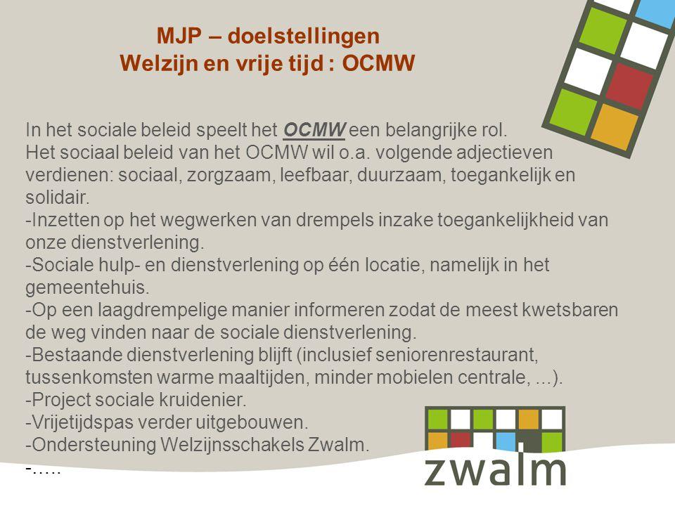 MJP – doelstellingen Welzijn en vrije tijd : OCMW In het sociale beleid speelt het OCMW een belangrijke rol. Het sociaal beleid van het OCMW wil o.a.