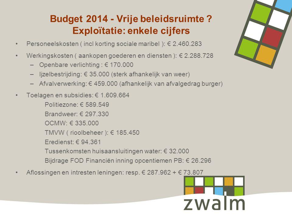 Budget 2014 - Vrije beleidsruimte ? Exploïtatie: enkele cijfers •Personeelskosten ( incl korting sociale maribel ): € 2.460.283 •Werkingskosten ( aank