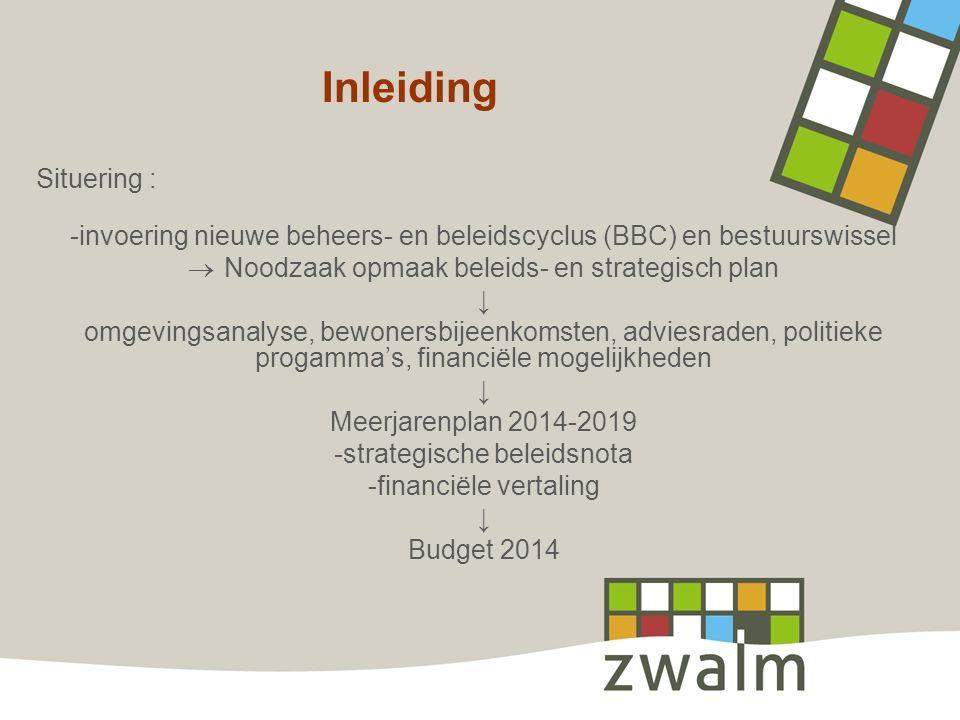 Inleiding Situering : -invoering nieuwe beheers- en beleidscyclus (BBC) en bestuurswissel  Noodzaak opmaak beleids- en strategisch plan ↓ omgevingsan