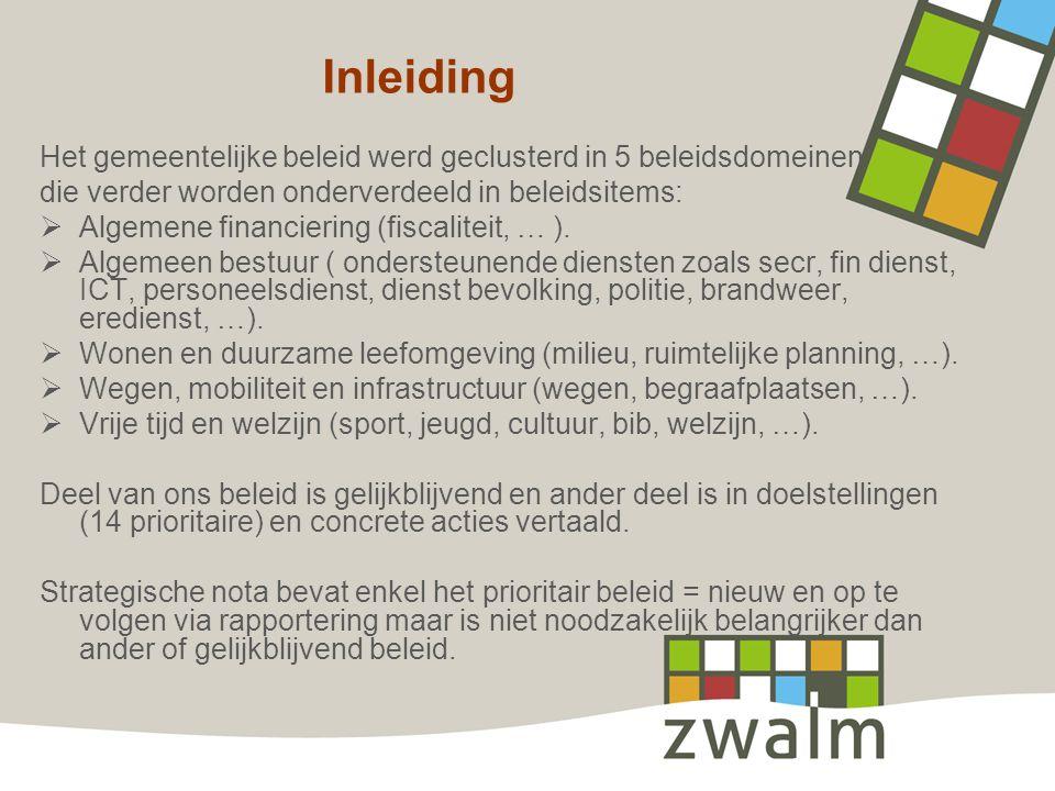 Inleiding Het gemeentelijke beleid werd geclusterd in 5 beleidsdomeinen die verder worden onderverdeeld in beleidsitems:  Algemene financiering (fisc