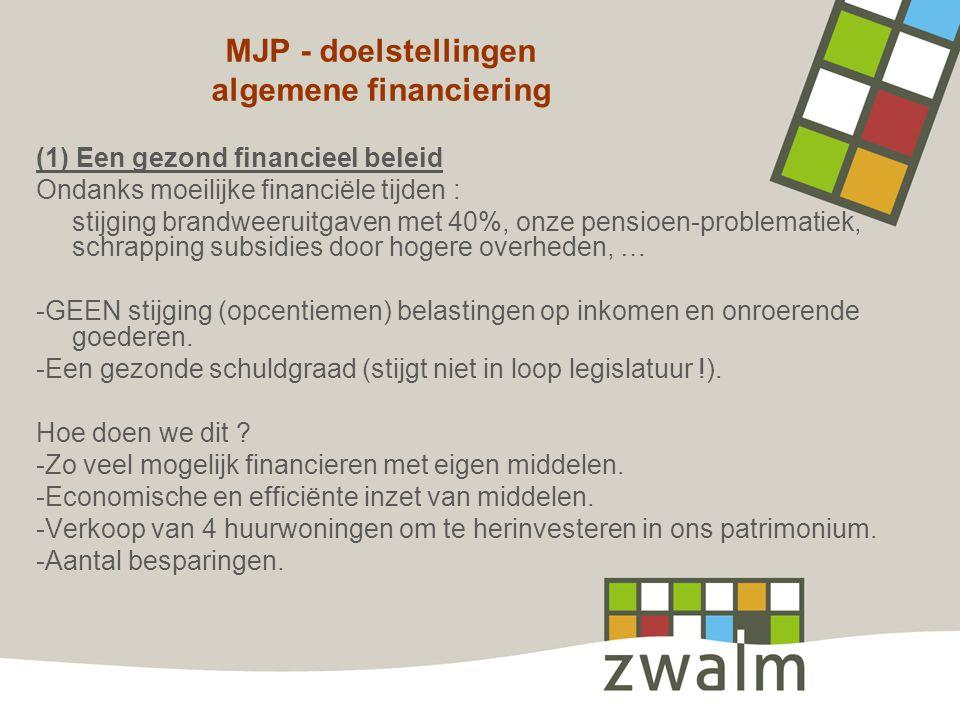 MJP - doelstellingen algemene financiering (1) Een gezond financieel beleid Ondanks moeilijke financiële tijden : stijging brandweeruitgaven met 40%,
