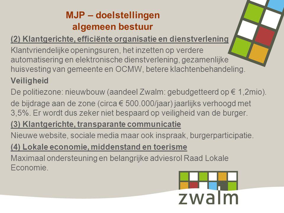 MJP – doelstellingen algemeen bestuur (2) Klantgerichte, efficiënte organisatie en dienstverlening Klantvriendelijke openingsuren, het inzetten op ver