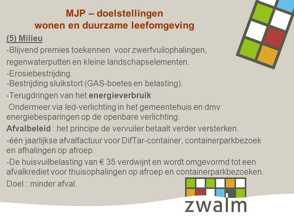 MJP – doelstellingen wonen en duurzame leefomgeving (5) Milieu -Blijvend premies toekennen voor zwerfvuilophalingen, regenwaterputten en kleine landsc