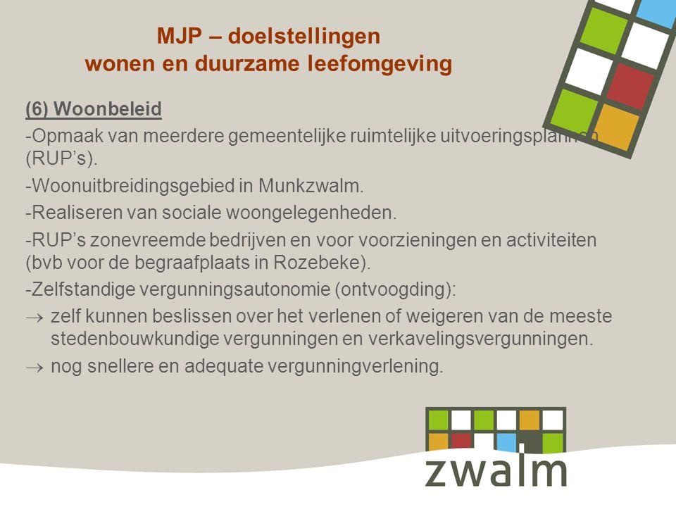 MJP – doelstellingen wonen en duurzame leefomgeving (6) Woonbeleid -Opmaak van meerdere gemeentelijke ruimtelijke uitvoeringsplannen (RUP's). -Woonuit