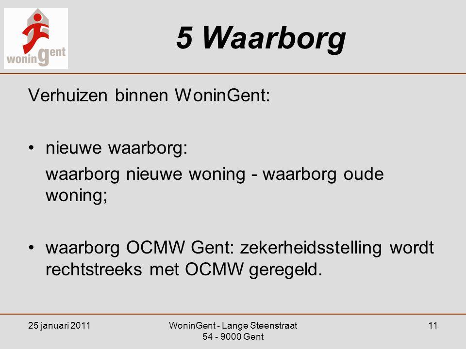 25 januari 2011WoninGent - Lange Steenstraat 54 - 9000 Gent 11 5 Waarborg Verhuizen binnen WoninGent: •nieuwe waarborg: waarborg nieuwe woning - waarb