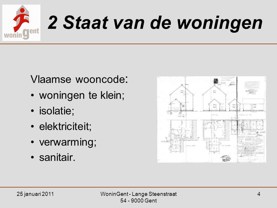 25 januari 2011WoninGent - Lange Steenstraat 54 - 9000 Gent 4 2 Staat van de woningen Vlaamse wooncode : •woningen te klein; •isolatie; •elektriciteit