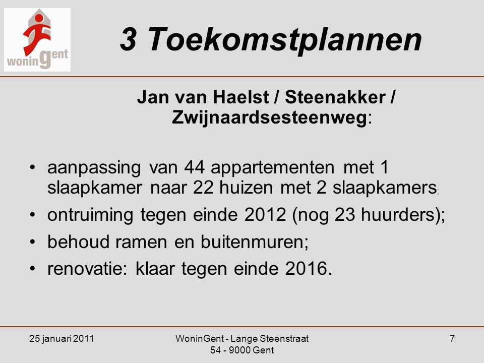 25 januari 2011WoninGent - Lange Steenstraat 54 - 9000 Gent 8 4 Herhuisvesting Verhuisbegeleiding: •huisbezoeken; •inschrijven andere woning; OOK BIJ ANDERE HUISVESTINGSMAATSCHAPPIJEN •informatie en contacten met organisaties.
