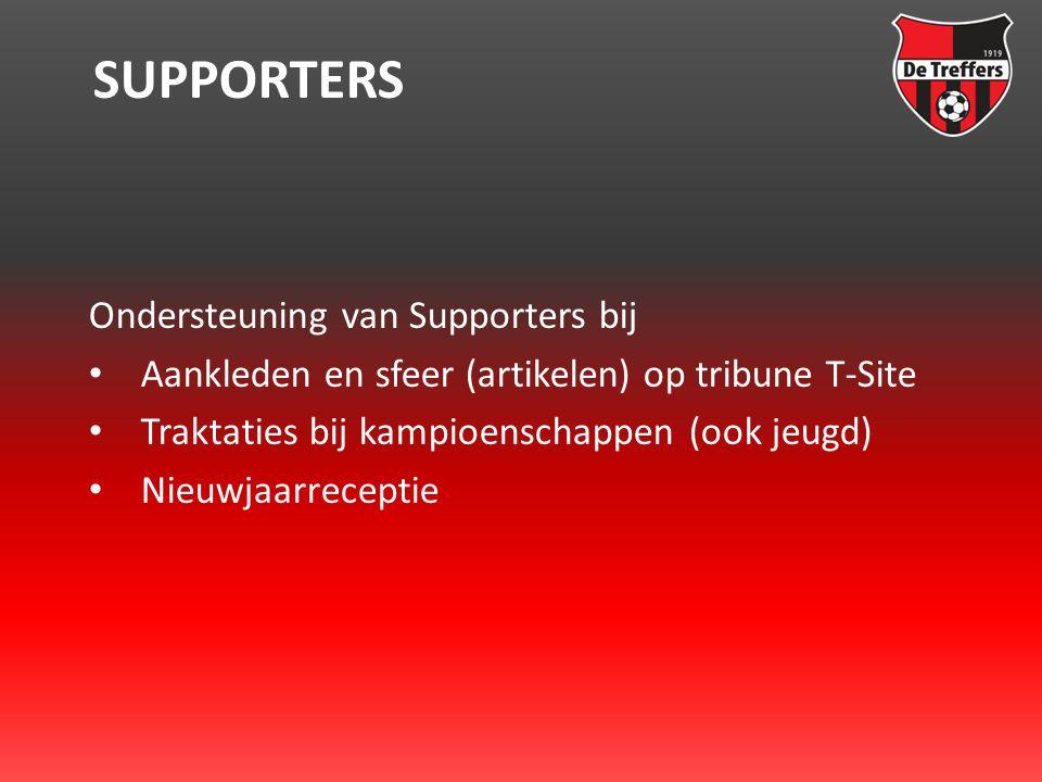 SUPPORTERS Ondersteuning van Supporters bij • Aankleden en sfeer (artikelen) op tribune T-Site • Traktaties bij kampioenschappen (ook jeugd) • Nieuwjaarreceptie