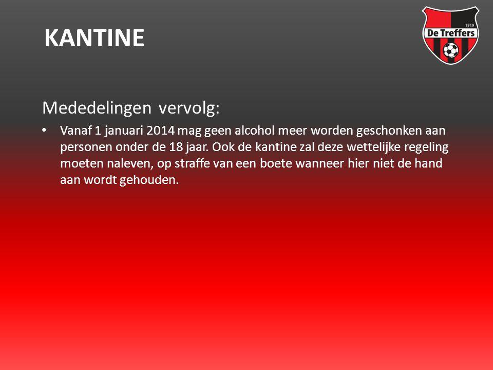 KANTINE Mededelingen vervolg: • Vanaf 1 januari 2014 mag geen alcohol meer worden geschonken aan personen onder de 18 jaar.