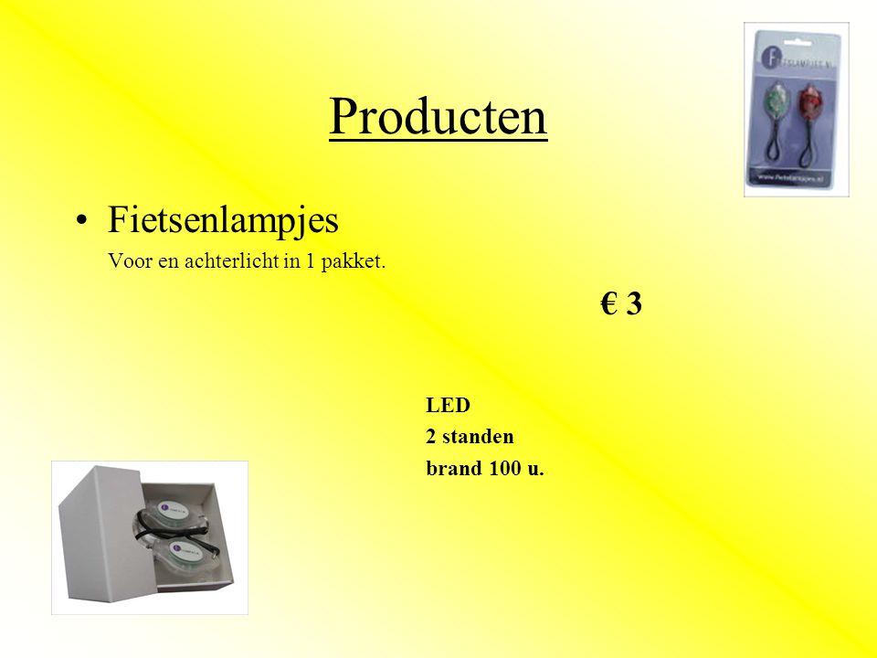 Producten •Fietsenlampjes Voor en achterlicht in 1 pakket. € 3 LED 2 standen brand 100 u.