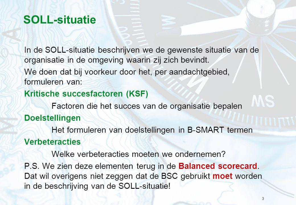 3 SOLL-situatie In de SOLL-situatie beschrijven we de gewenste situatie van de organisatie in de omgeving waarin zij zich bevindt. We doen dat bij voo