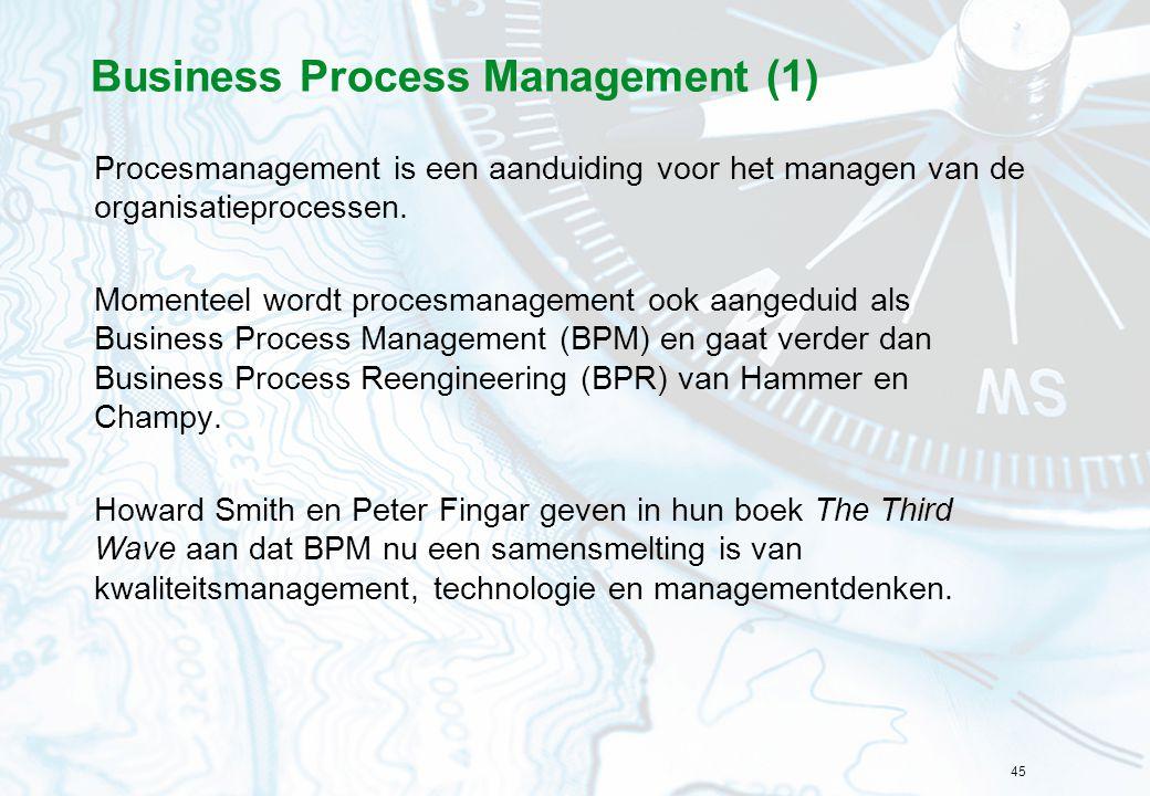 45 Business Process Management (1) Procesmanagement is een aanduiding voor het managen van de organisatieprocessen. Momenteel wordt procesmanagement o
