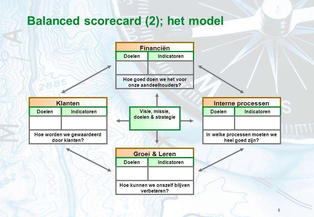 6 Balanced scorecard (2); het model Visie, missie, doelen & strategie Financiën DoelenIndicatoren Hoe goed doen we het voor onze aandeelhouders? Klant